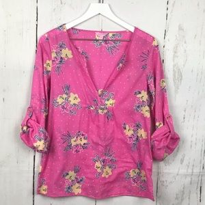 Lilly Pulitzer Clementine Popover Pink Floral Top
